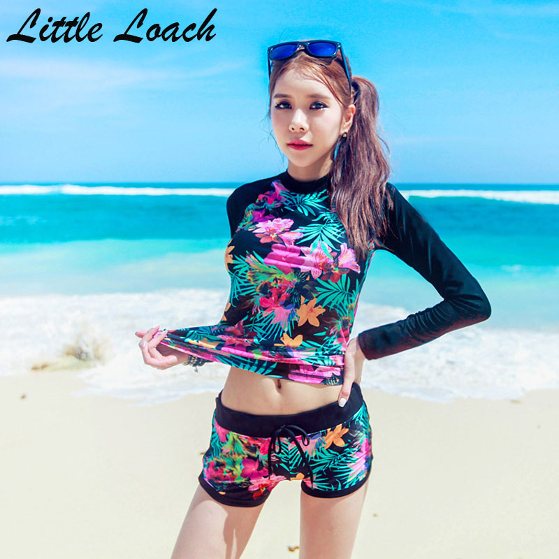 Top Quality Long Sleeve Bikini Set Women Nylon Material Printed Split Swimwear Female Spring Sunscreen Plus Size Swimming Suits
