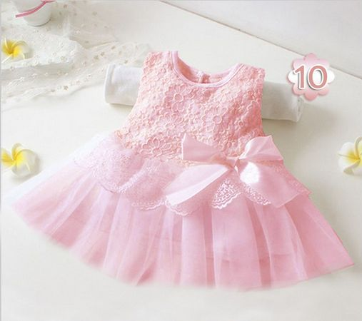 2018 summer cute infant baby girls Sleeveless princess dresses kid children toddlers clothing vestido infantil pink white DY009A