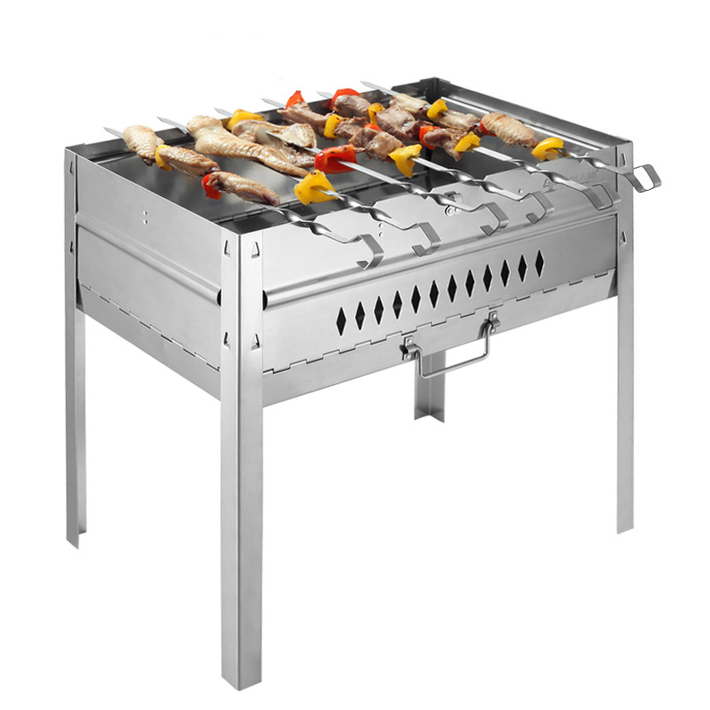 high quality stainless steel bbq grill charcoal grill outdoor portable folding barbecue stoves bbq grills - Stainless Steel Charcoal Grill