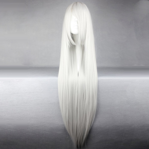 Anime 100cm Long Straight Silver White Party Hair Cosplay Full Wig+cap Heat Resistant