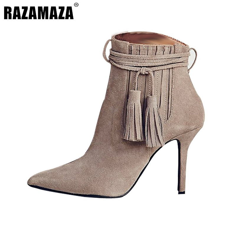 Women Pointed Toe Thin Heel Ankle Boots Woman Fashion Tassel Boots Ladies Brand New Cross Strap Heeled Shoes Size 35-46 B293 lankarin brand 2017 summer woman pointed toe flats ladies platform fashion rivet buckle strap flat shoes woman plus size