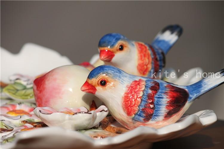 White ceramic birds home decor