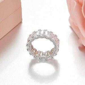 Image 2 - Sljely 925 prata esterlina brilhando quadrado completo zircônia cúbica cristal anéis de dedo feminino casamento luxo marca design jóias