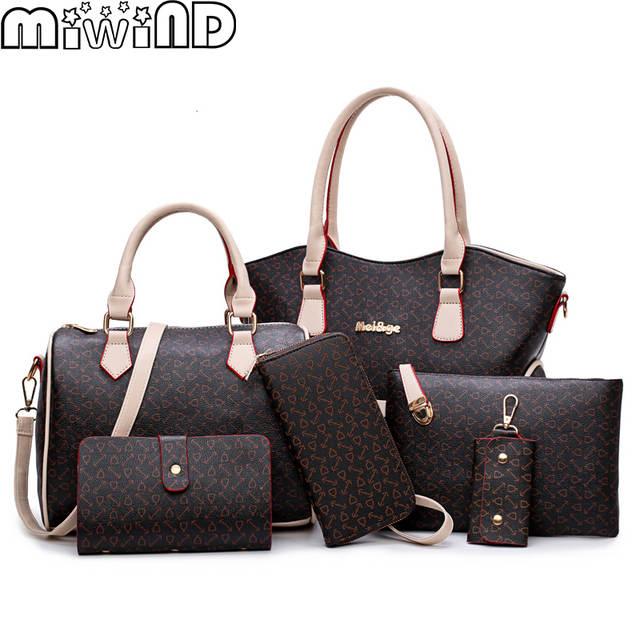 Online Shop 2019 New Women Bags Leather Handbags Fashion Shoulder Bag  Female Purse High Quality 6-Piece Set Designer Brand Bolsa Feminina  69bcda0c28746