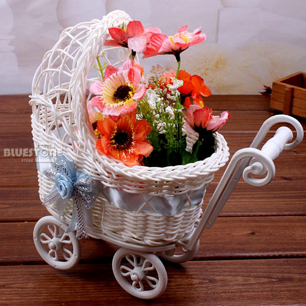 3 Color Wicker Hamoer Pram Basket Baby Shower Party Xmas Gift Present Organizer Decor