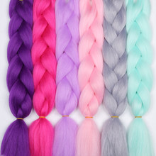MERISIHAIR 24inch Ombre Kanekalon Synthetic Crochet Hair Extensions Jumbo Braids Hairstyles Pink Blonde Red Blue Braiding Hair(China)