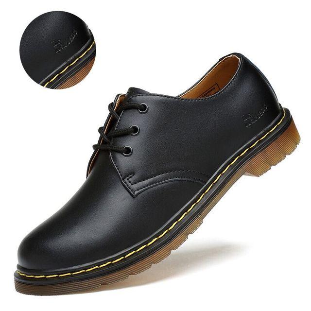 Masorini ผู้ชายหนังแท้รองเท้าชายสีดำ Mens Dr Martins รองเท้าผู้ชายทำงานรองเท้าขนาด 35-46 WW-032