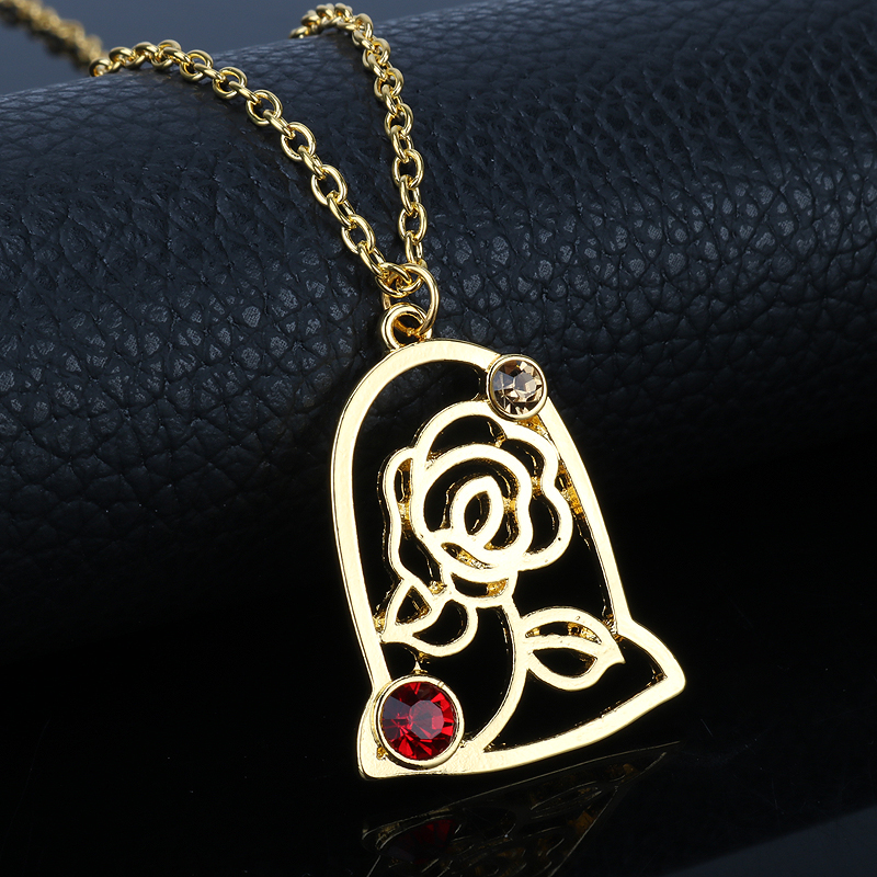 disney within beast and locket lies the necklace gold beauty plated