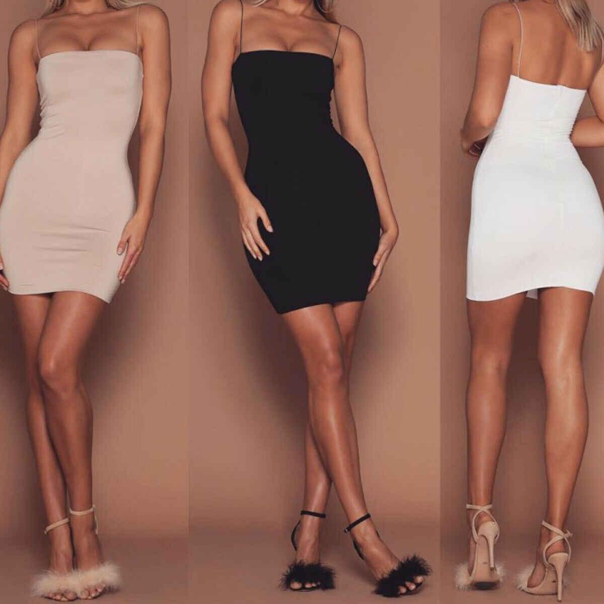 2019 najnowszy gorący kobiet lato jednolity kolor Sexy obcisłe mini sukienki wieczór Halter bez rękawów sukienka do klubu obcisła sukienka