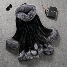 Зимняя женская Искусственная лиса, норка, меховое пальто для женщин, роскошное пальто из искусственного меха средней длины, женская верхняя одежда