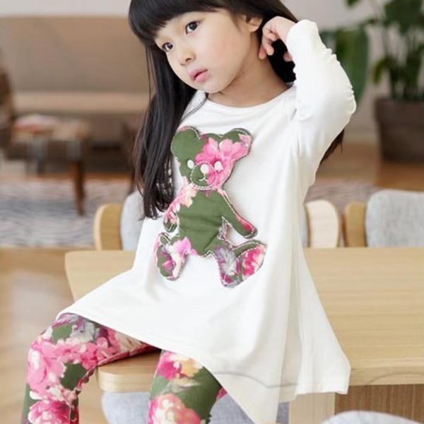 Комплект из нарядной футболки для девочек с длинным рукавом и принтом Медведь брюки с цветочным принтом