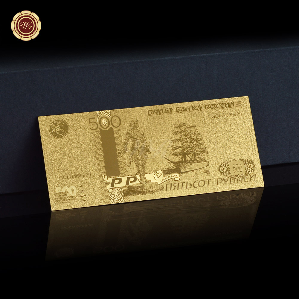 Wr Prime Sale Russian Gold Plated Paper Cash 500 Rouble Gold Foil Banknote Present For Enterprise Christmas Birthday Assortment