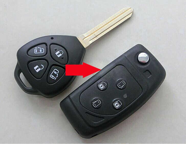 10ชิ้น/ล็อตสำหรับโตโยต้าAlphard Camry Reiz Corolla RAV4ดัดแปลงพลิกพับกรณีเชลล์กุญแจรีโมท4ปุ่มFobที่สำคัญปก