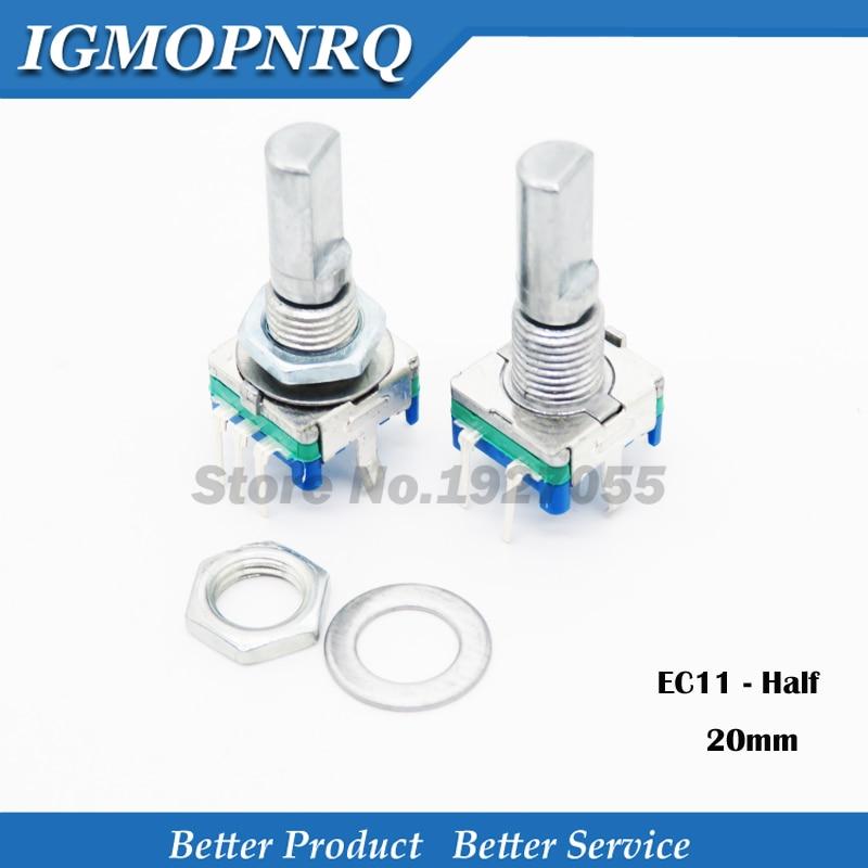 2 pièces demi poignée 20mm encodeur rotatif codage commutateur/EC11/potentiomètre numérique avec interrupteur 5 broches nouveau