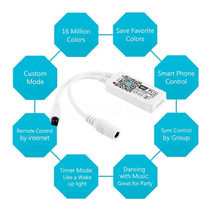 Magia domu IOS Android Alexa Google muzyka Bluetooth WiFi pilota 5050 RGB RGBW WS2812 WS2811 taśmy LED pikseli światła
