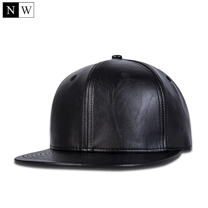 High Quality Solid Brand Snapback Black Cap Faux Leather Cap Hip Hop Snapbacks Hat Men Women Black Snapback Adjustable Size
