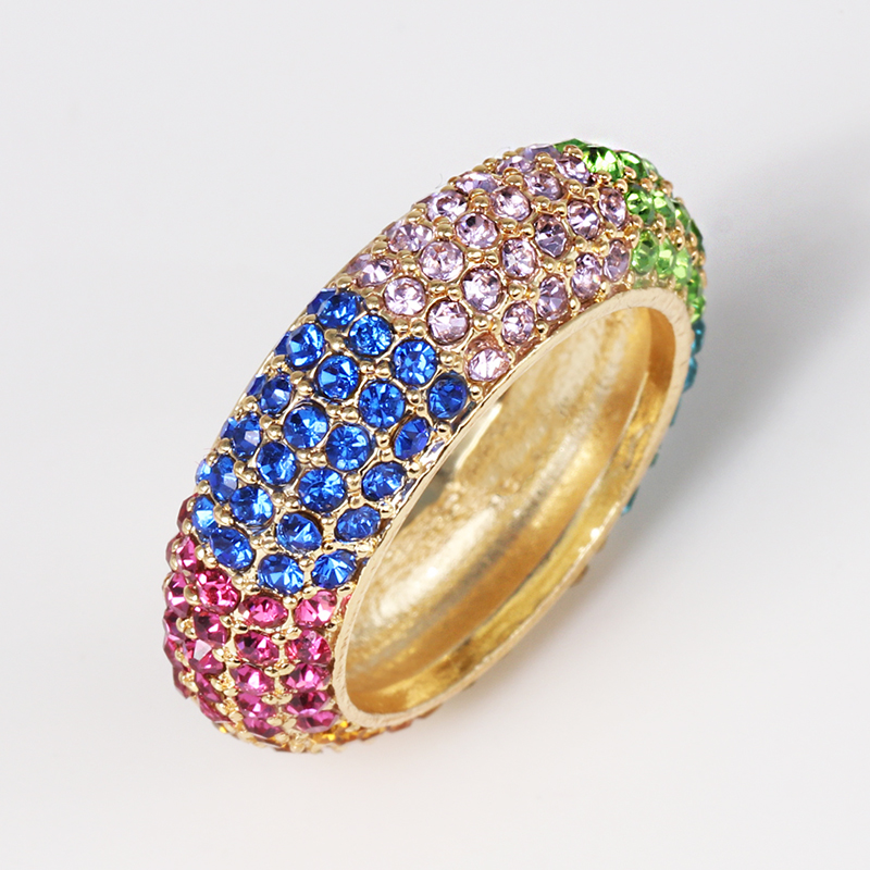 Top Quality Classical mix color Cubic Zircon Wedding Ring for Women Gold Color Austrian Crystal colorful cz ring 2019 in Engagement Rings from Jewelry Accessories