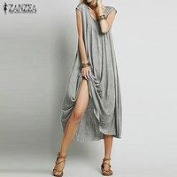 ZANZEA Fashion 2016 Women Dress Sleeveless Cotton Long Maxi Party Dresses Casual Loose Beach Vestidos Plus