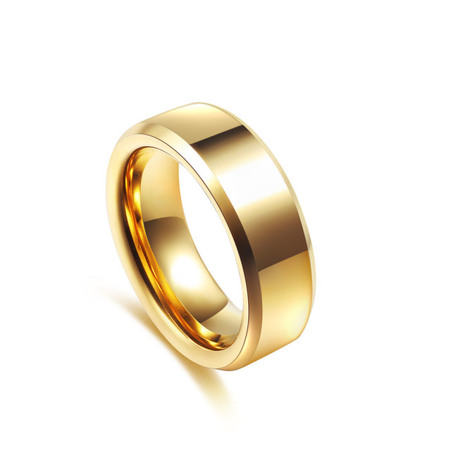 JK Men Women Smoot Simple Rings Black Gold Pure Tungsten Steel L Wedding Engagement Mens Fashion Jewelry 8MM Bague Homme