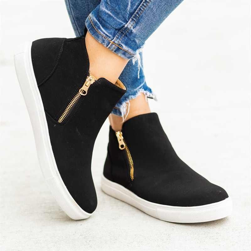 แฟชั่นผู้หญิง Vulcanize รองเท้าสบายรองเท้าผ้าใบกลางแจ้งรองเท้าสุภาพสตรีแบนรองเท้าแฟชั่น Retro รองเท้าผ้าใบขนาด Plus 2019