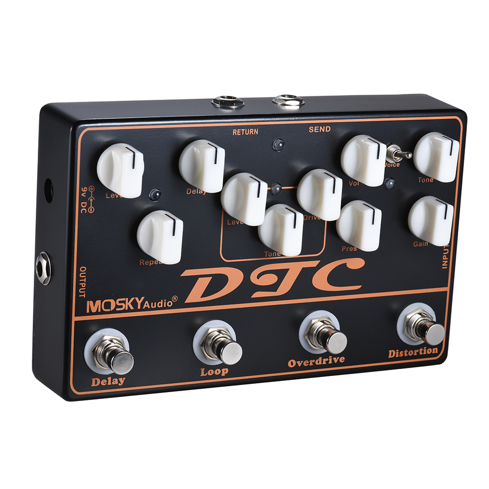 New Arrival MOSKY DTC 4 in 1 Electric Guitar Effects Pedal Distortion Overdrive Loop Delay Guitar