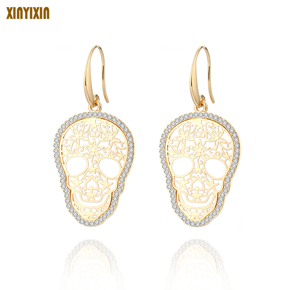 Gold Skeleton Skull Drop Earrings For Women Crystal Hollow Flower Skeleton Vintage Earrings Gold Silver Personality Jewelry Gift