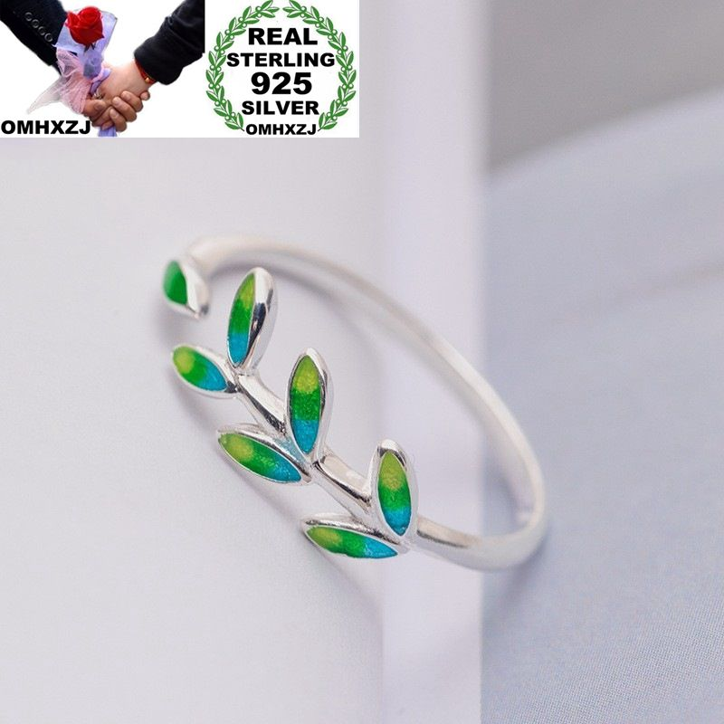 OMHXZJ Wholesale European Fashion Woman Girl Party Wedding Gift Silver Leaves Open 925 Sterling Silver Ring RR285