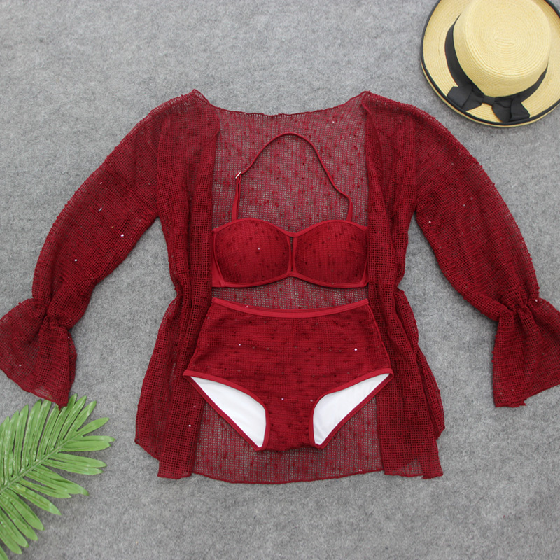 Summer Hot Red Sexy Women Bikini Swimwear 3 Pieces Swimsuit with Long Sleeve Lace Hollow Cover-Ups Girls Beach Wear Bathing Suit