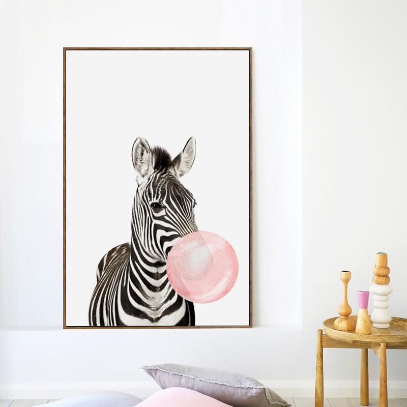 HTB11Sz0m7SWBuNjSszdq6zeSpXaq Bubble Chewing Gum Giraffe Zebra Animal Posters Canvas Art Painting Wall Art Nursery Decorative Picture Nordic Style Kids Deco