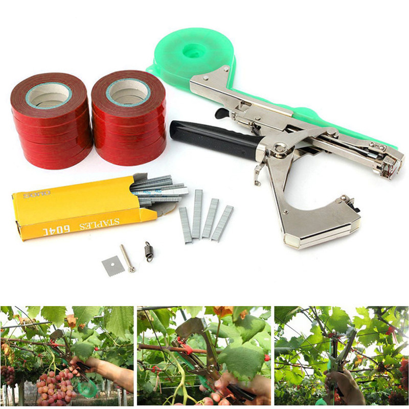 Машина для подвязывания растений, набор для садовых растений, Tapetool Tapener с 12 рулонами ленты, используется для овощей, винограда, помидоров, ог...