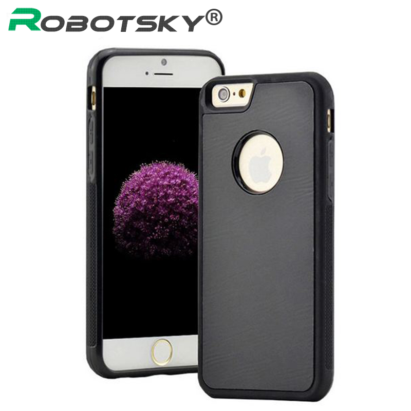 robotsky for iphone 6 6s 6 plus antigravity tpu frame magical anti gravity nano suction cover adsorbed car hard case shell black