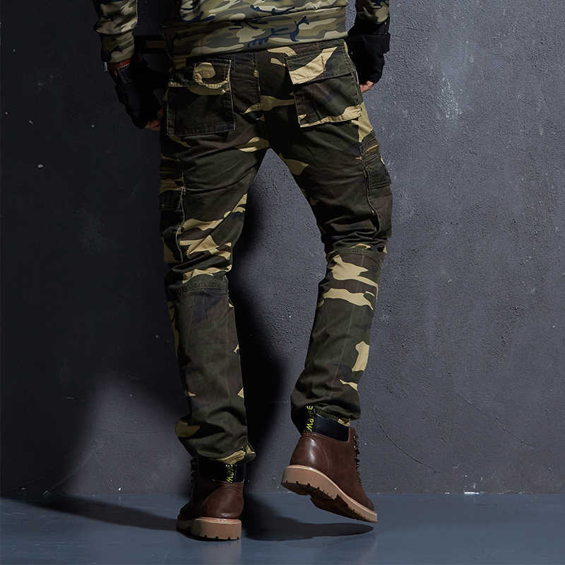 57348c60af0f8 ... Tactical Camo Pants Mens Military Style Cargo Pants Army Camouflage  Straight Trousers Male Zipper Multi Pocket ...