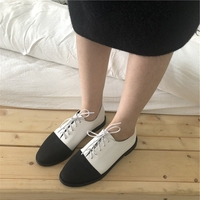 Small leather shoes women spring and autumn 2019 Japanese wild fashion color matching single shoes flat black and white retro