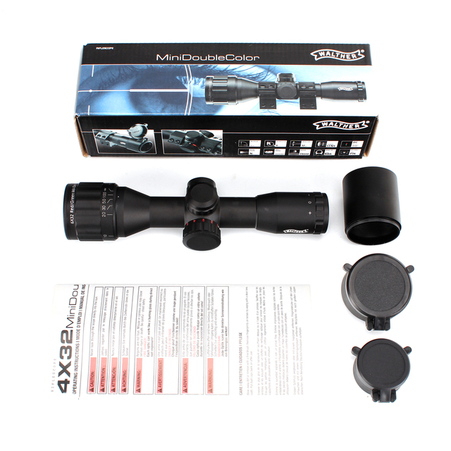 WALTHER 6x32 AO Mini Mil-Dot Double Color Illuminated Reticle Hunting Riflescope Tactical Optical Sight Rifle Scope 5