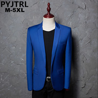 PYJTRL Brand Fashion Casual Leisure Suit Jacket Coat Royal Blue Men Blazer Slim Fit Designs Masculino