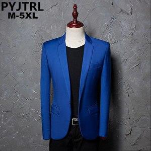 Image 1 - PYJTRL ブランドファッションカジュアルファッションレジャースーツのジャケットのコートロイヤルブルー男性ブレザースリムフィットデザイン Masculino ステージ衣装歌手