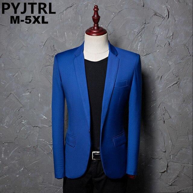 PYJTRL ブランドファッションカジュアルファッションレジャースーツのジャケットのコートロイヤルブルー男性ブレザースリムフィットデザイン Masculino ステージ衣装歌手