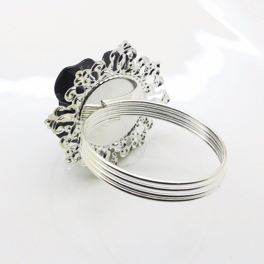 New 6pcs 10pcs Black Resin Rose Napkin Ring Party Entertain Wedding