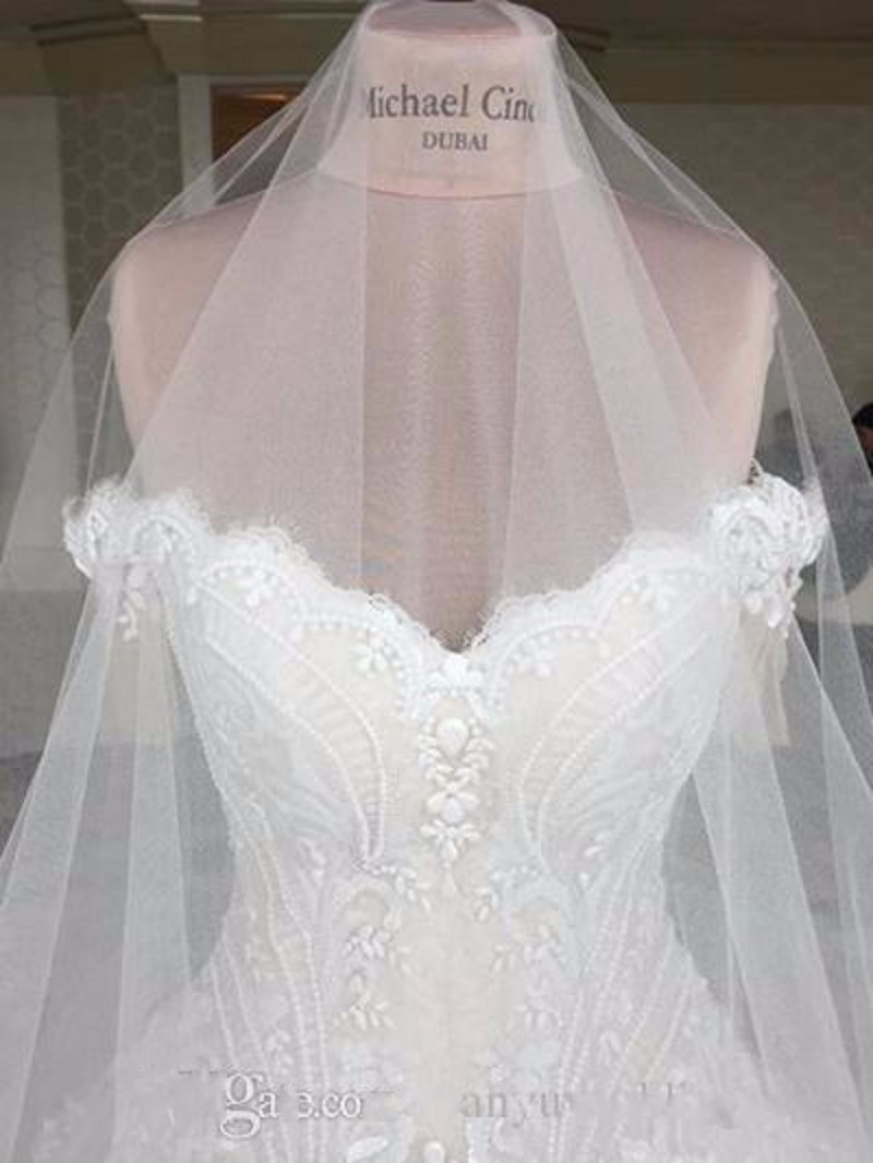 Luxury Michael Cinco Wedding Dress A Line Applique Beaded Wedding