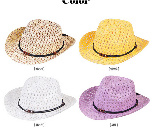10pcs/lot free shipping children unisex straw hat cowboy sun hat casual boy girl sun hat large brim kid beach hat solid