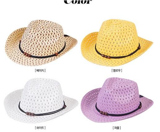 10pcs/lot free shipping children unisex straw hat cowboy sun hat casual boy girl sun hat large brim kid beach hat solid