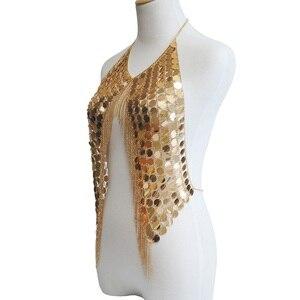 Image 5 - Соблазнительное великолепное ожерелье в стиле бохо с металлическими блестками и кисточками, цепочка для бюстгальтера, женское Ювелирное Украшение, массивная цепочка для бикини из металлического сплава