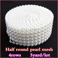 Strass Crystal 5 Yard 6rows White Pearl No Rhinestone Trims Plastic Mesh Trimming Sewing For Decoration
