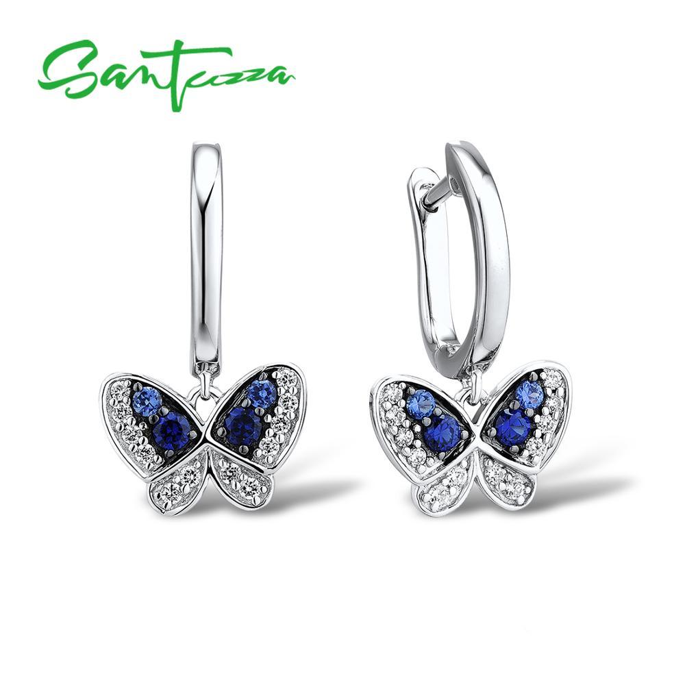 Silver Drop butterfly Earrings for Women Blue Natural Stones CZ Stones Women Earrings Pure 925 Sterling Silver Fashion Jewelry