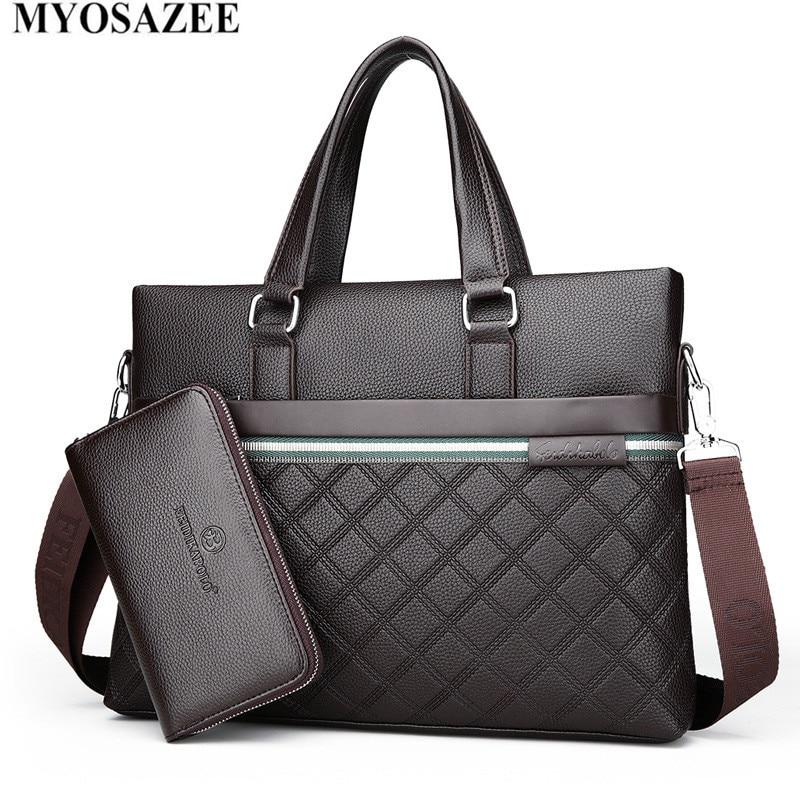 MYOSAZEE 2018 Men s Handbag With New Male Package Rhombus Leather Single Shoulder Crosses Business Computer