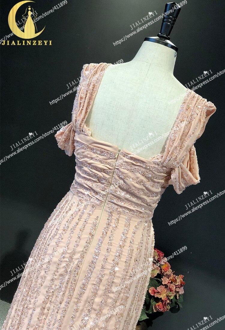 JIALINZEYI réel échantillon nu bateau cou complet luxueux perles en mousseline de soie Elie saab robe pour les robes de soirée de fête - 5