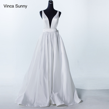 Vinca Sunny 2019 Sexy Deep V Neck White Satin Wedding Dresses Simple Backless Beach Wedding Dress Vestido De Noiva Praia