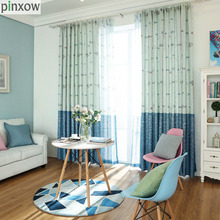 Фотография Children Window Curtains Blue Cartoon Boys Bedroom Curtain Panels Linen Fish Drapes Kids Room Printing Tulles Sheer Custom Made