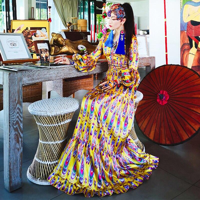Estilo nacional chino mujeres cola de pavo real manga larga cuello en V vestido tradicional femenino A Line princesa vestido elegante traje de baile-in Vestidos from Ropa de mujer    2