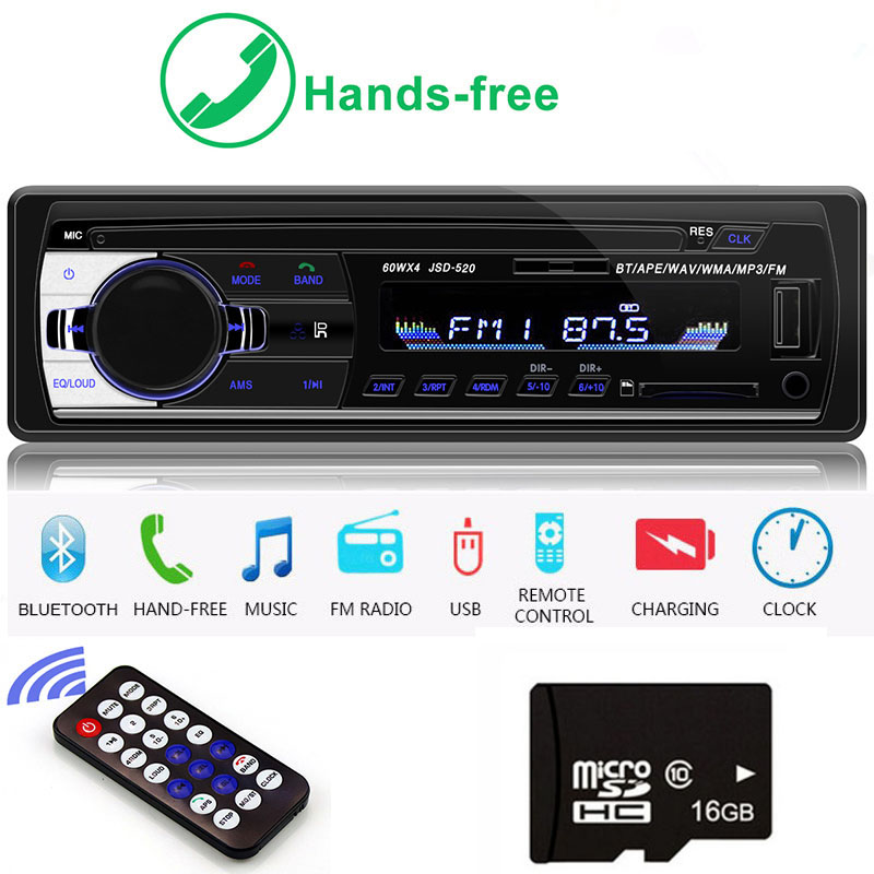 autoradio 1 din car radio JSD-520 car stereo bluetooth audio mp3 recorder usb sd aux input oto teypleri auto radio car player image